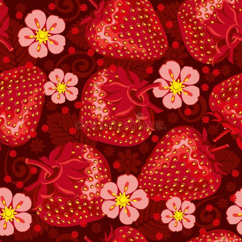 Ausgezeichnetes nahtloses Muster mit Erdbeere stock abbildung