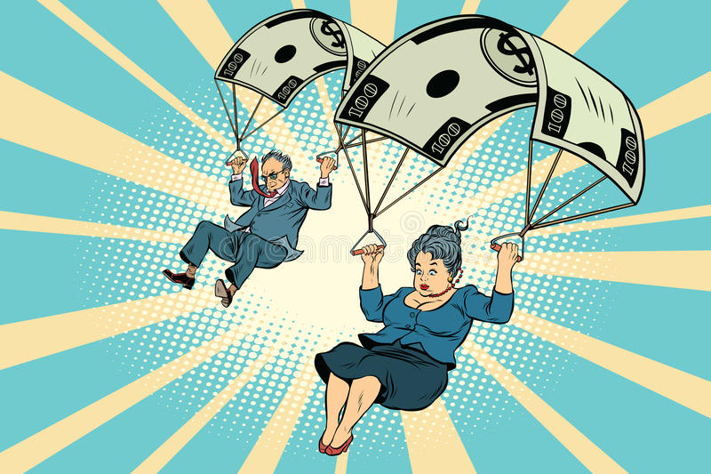 AUSGLEICHSgeschäftsmann und -geschäft des goldenen Fallschirmes Finanz vektor abbildung