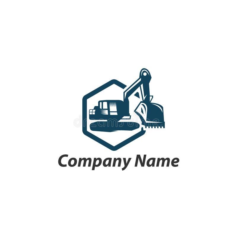 Aushubarbeitenlogodesign, Emblem des Baggers oder Gebäudemaschine stock abbildung