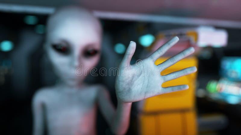Ausländer im Raumschiff Hand, die heraus mit Erdplaneten erreicht Futuristisches Konzept UFO Wiedergabe 3d vektor abbildung