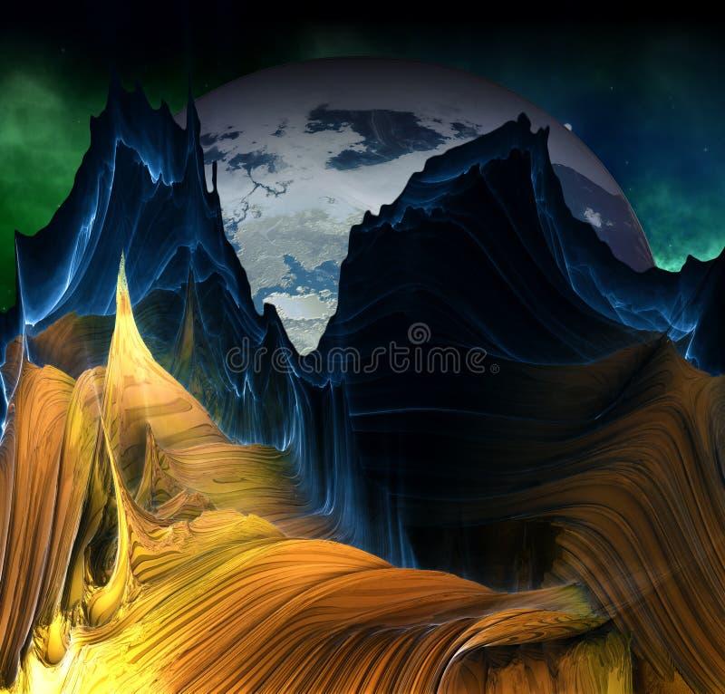 Ausländische Berge mit Raumhintergrund lizenzfreie abbildung
