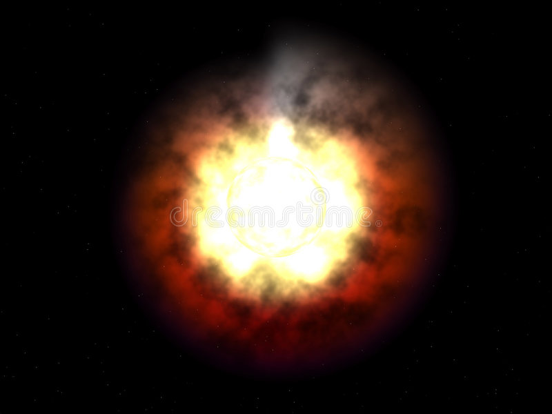 Ausländische galaktische heiße ausländische helle Sonne lizenzfreie abbildung
