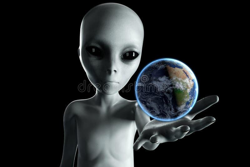 Ausländische Hand, die heraus mit Erdplaneten erreicht Futuristisches Konzept UFO Wiedergabe 3d lizenzfreie abbildung