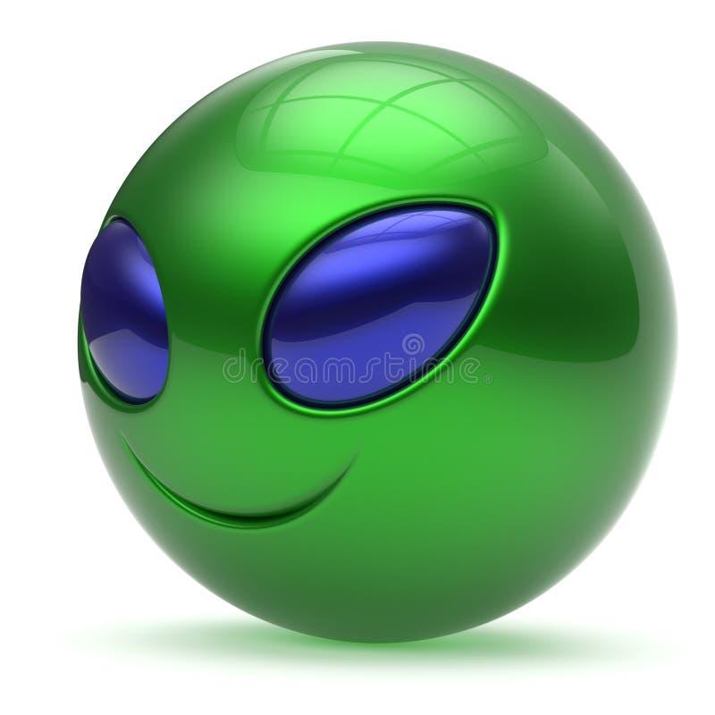 Ausländische Karikatur des smileygesichtes nettes Hauptemoticon-Monstergrün vektor abbildung