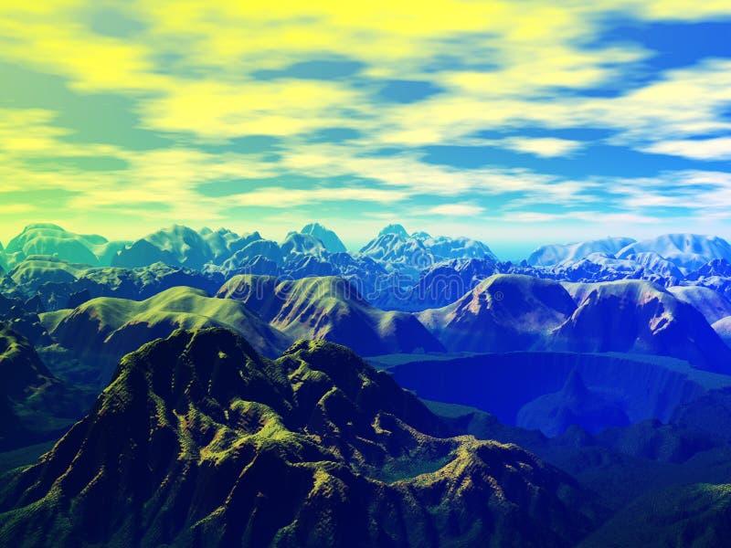 Ausländische Landschaft im Dunst stock abbildung