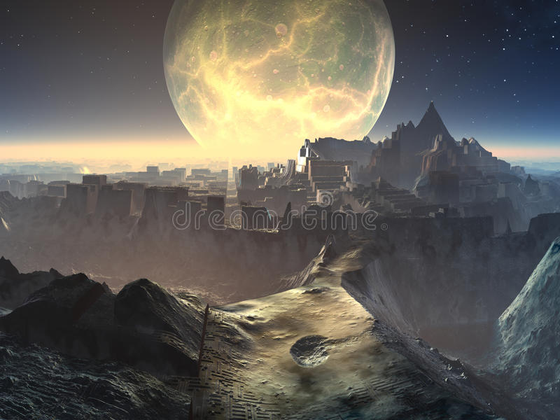 Ausländische Stadt-Ruinen durch Moonlight stock abbildung
