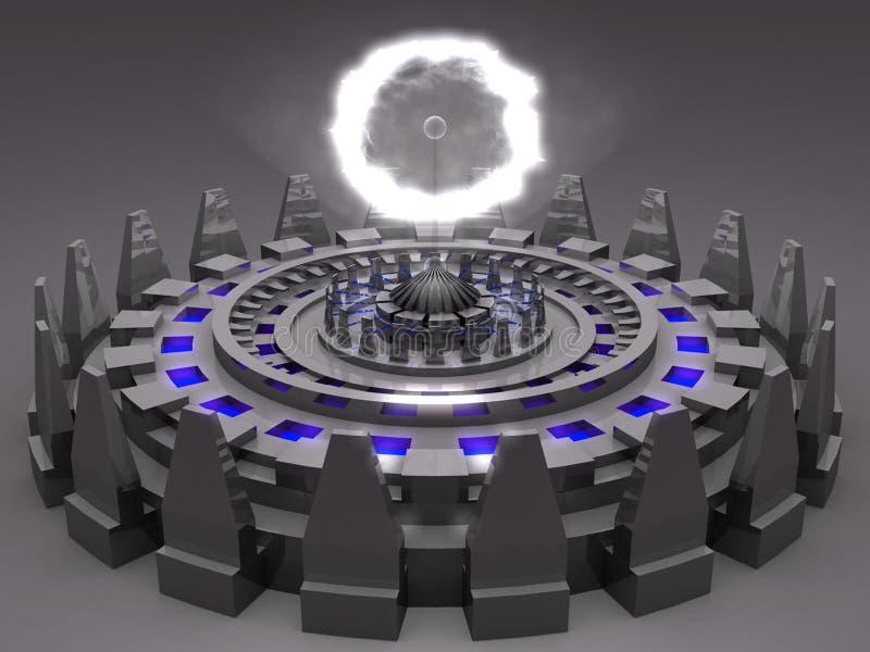 Ausländische unbekannte futuristische Maschine der Fantasie in grauem c stock abbildung