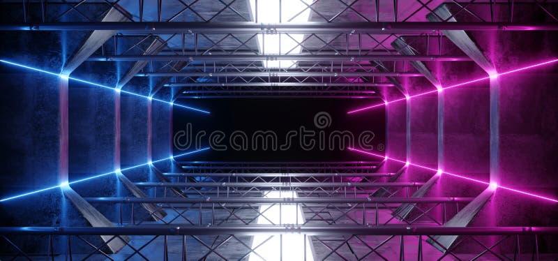 Ausländische vibrierendes Purpur-Rosa-blaue glühende dunkle helle Neonlinien Sci FI-geführte Lasers im futuristischen modernen Ba lizenzfreies stockfoto