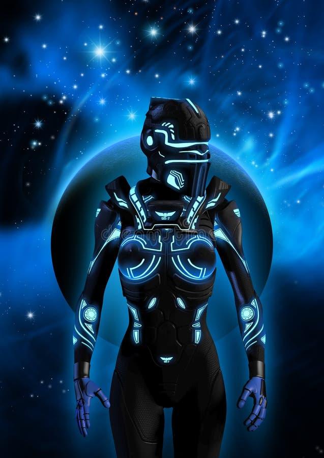 Ausländischer Cyborg in einem bewölkten Himmel, im Hintergrund ein Planet, in einem Nebelfleck und in vielen hellen Sternen, Illu lizenzfreie abbildung