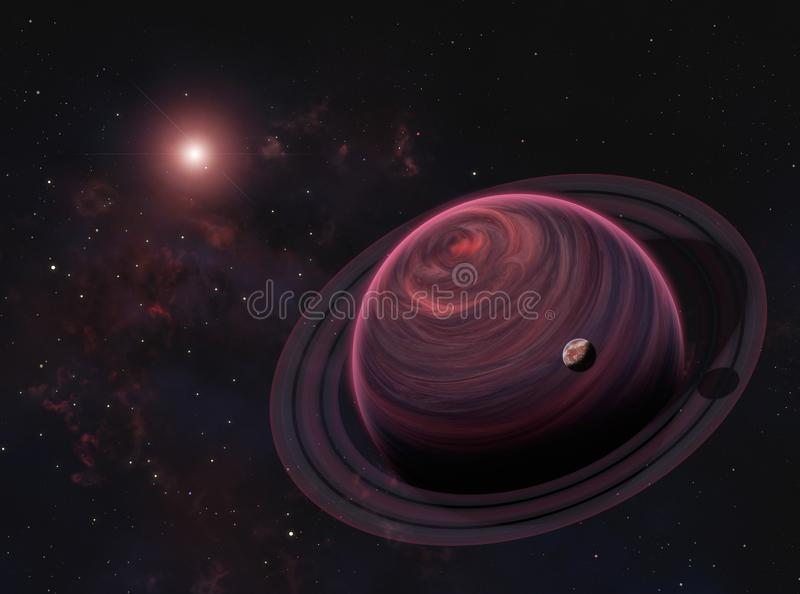 Ausländischer Gas-Riese-Planet mit Ringen und rotem Mond auf Nebelfleck-Hintergrund Elemente dieses Bildes geliefert von der NASA stock abbildung