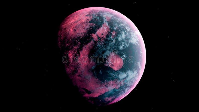 Ausländischer Planet im Weltraum Wiedergabe 3d lizenzfreie abbildung