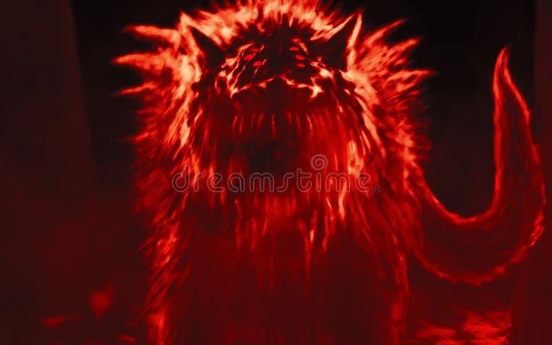Ausländischer Wolf taucht vom dunklen Wald auf und öffnet seinen Mund lizenzfreie abbildung