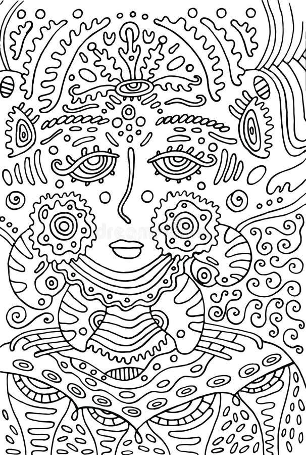 Ausländisches Göttinmädchen Gekritzelfarbtonseite für Erwachsene Vektor illu lizenzfreie abbildung