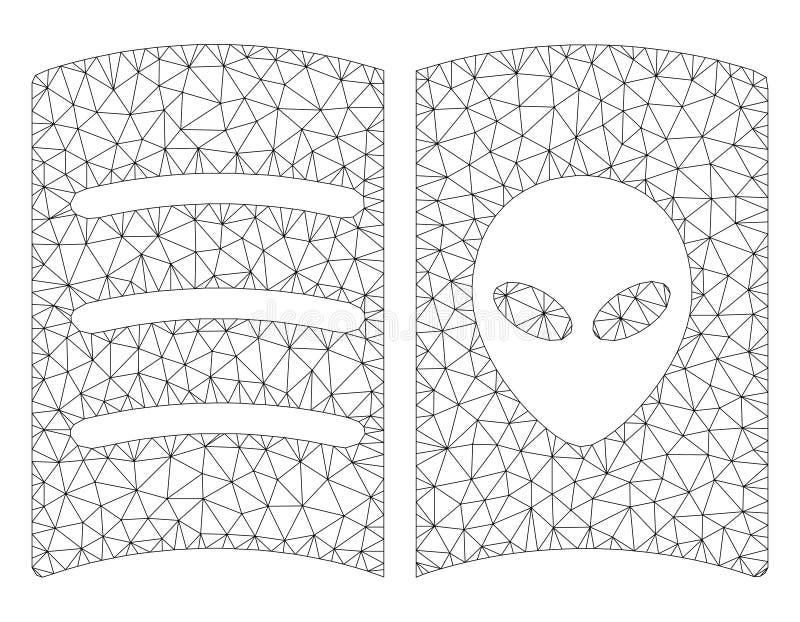 Ausländisches Gesichts-Buch-polygonaler Rahmen-Vektor Mesh Illustration stock abbildung