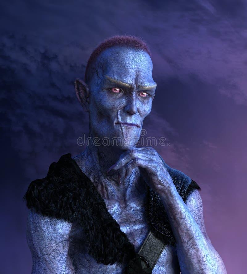 Ausländisches Mutant-Porträt mit Narbe lizenzfreie abbildung