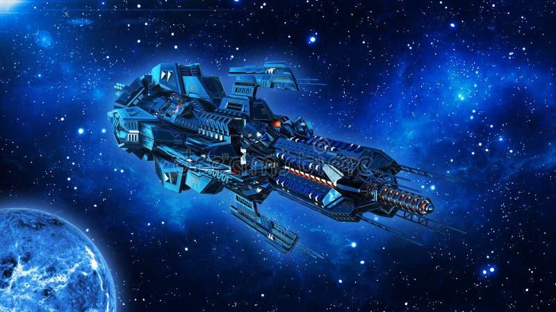 Ausländisches Mutterschiff, Raumschiff im Weltraum-, UFO-Raumfahrzeugfliegen im Universum mit Planeten und in den Sternen, Vorder stock abbildung