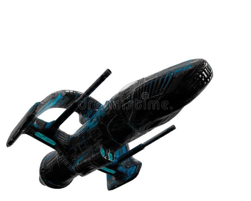 Ausländisches Raumschiff der schwarzen und blauen Flugzeuge, das herum erforscht stock abbildung