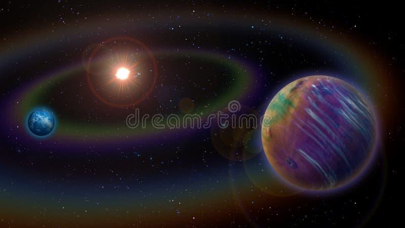 Ausländisches Sonnensystem lizenzfreie abbildung