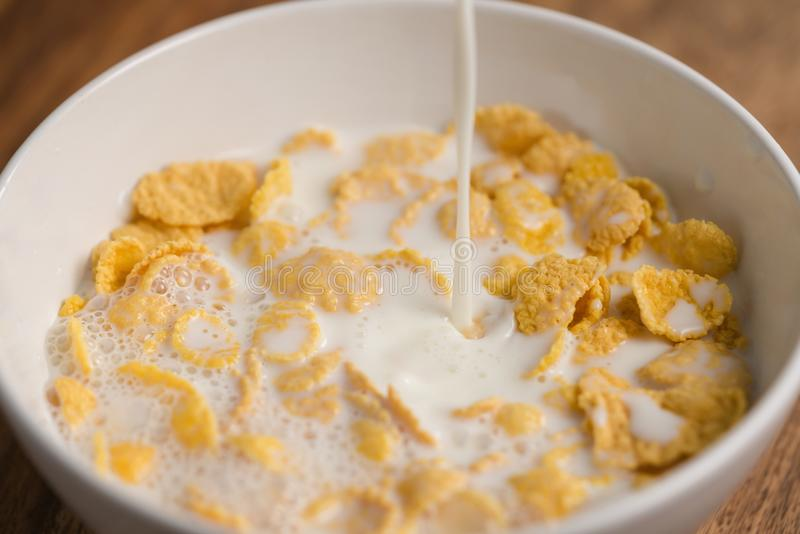 Auslaufende Milch in Corn Flakes in der weißen Schüsselnahaufnahme lizenzfreie stockfotos