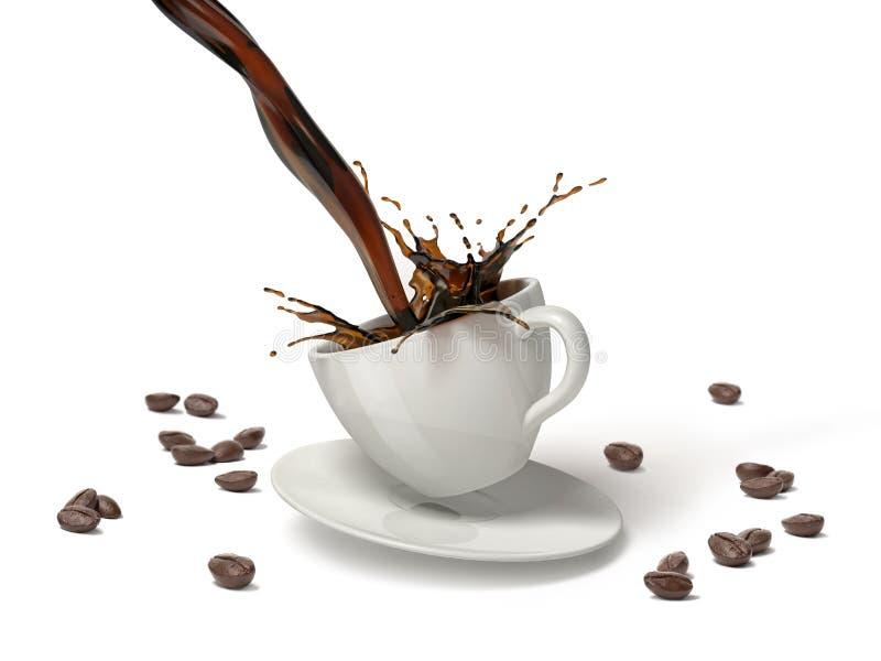 Auslaufender Kaffee mit Spritzen in der weißen Schale, die auf Untertasse springt lizenzfreie stockfotos