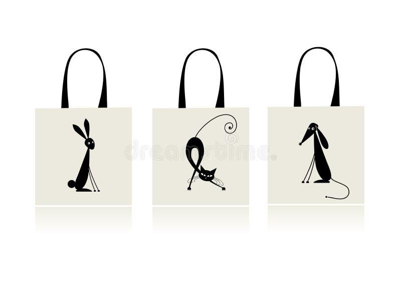 Auslegung der Einkaufstasche - Häschen, Katze und Hund lizenzfreie abbildung