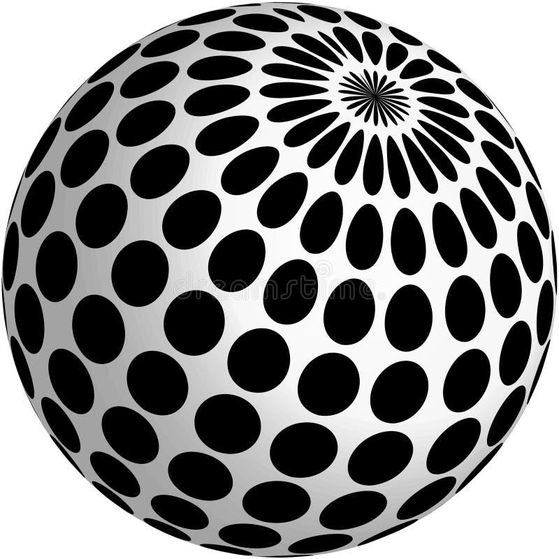 Auslegung der Kugel 3d mit schwarzen Punkten stock abbildung