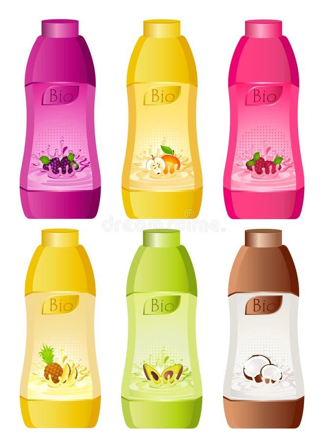 Auslegung der milchigen Produkte der Flasche stock abbildung