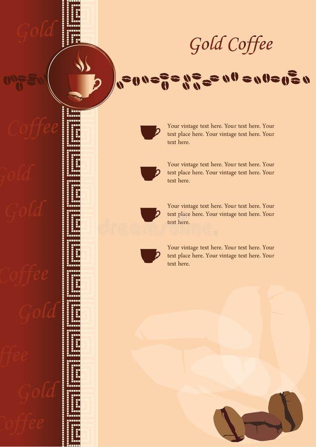 Auslegung des Menüs für Kaffeestube und Gaststätte stock abbildung