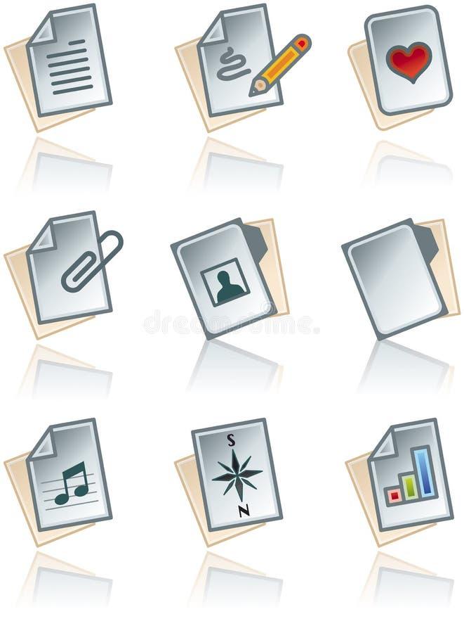 Auslegung-Elemente 43a. Papierarbeiten Ikonen eingestellt lizenzfreie abbildung