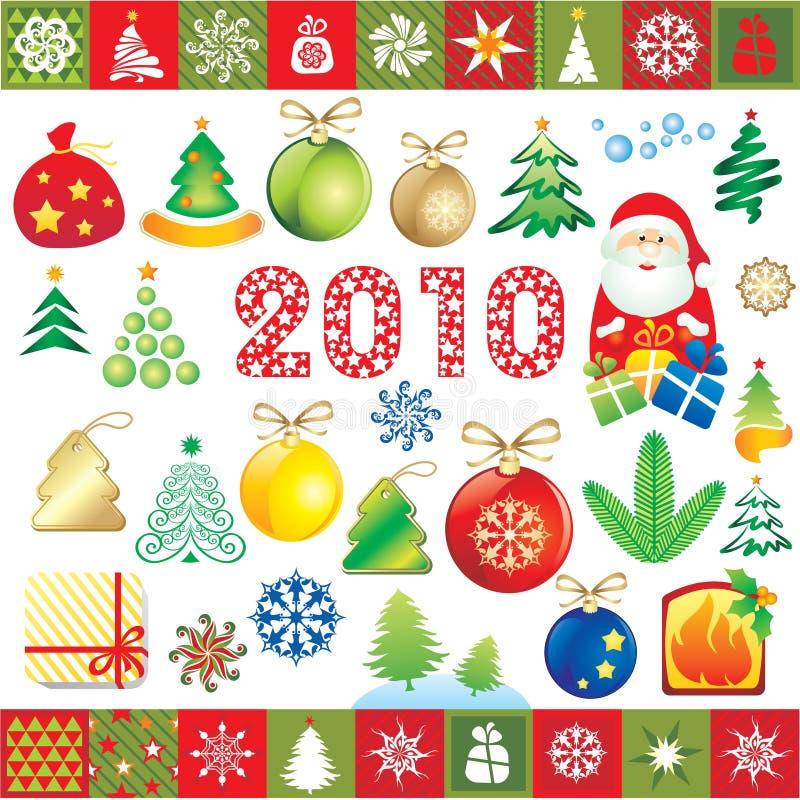 Auslegungelemente des neuen Jahres stock abbildung