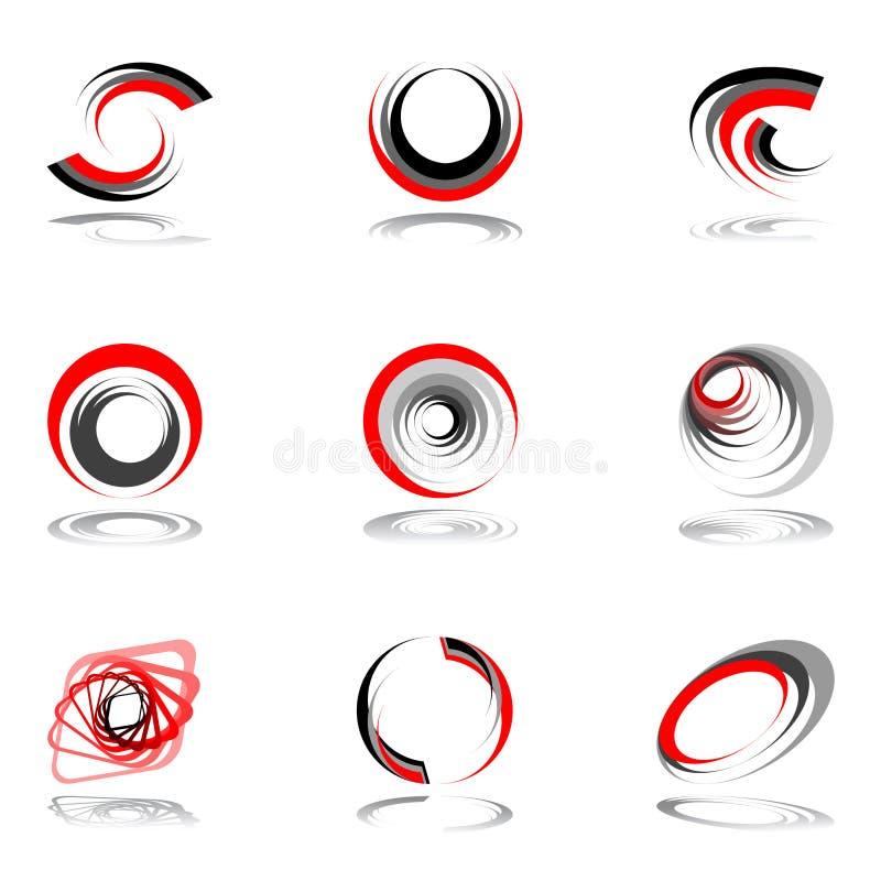 Auslegungelementset in den rot-grauen Farben. vektor abbildung