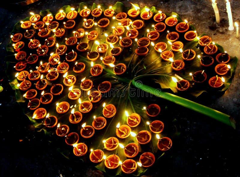 Auspicious Diwali diyas royalty free stock images