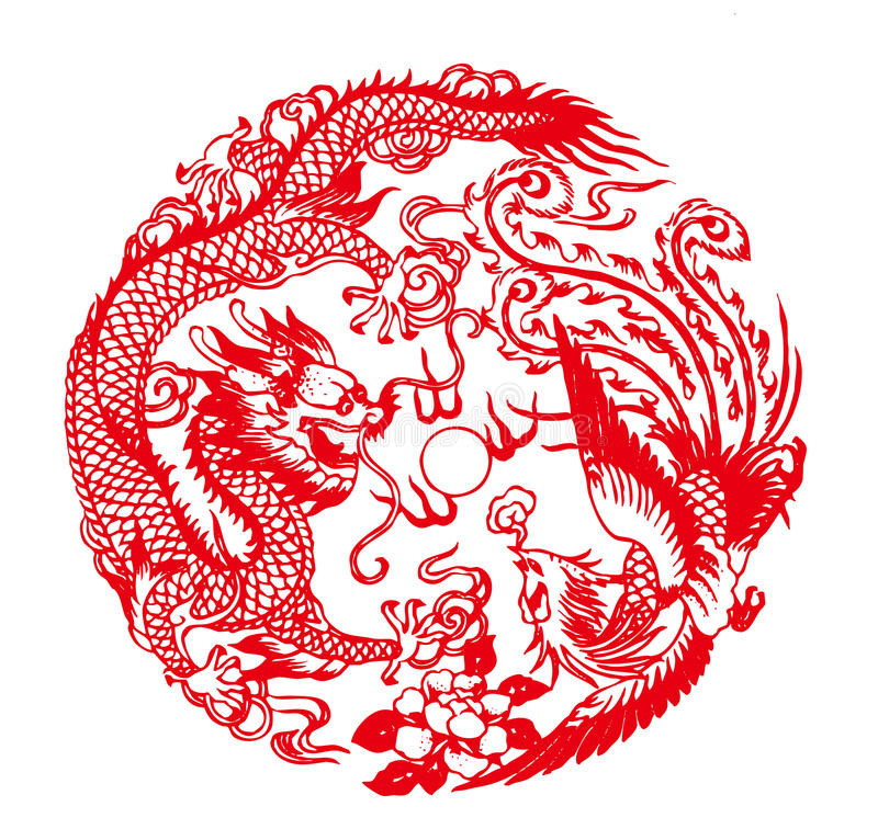 chinese paper cutting templates dragon - auspicious dragon and phoe stock illustration