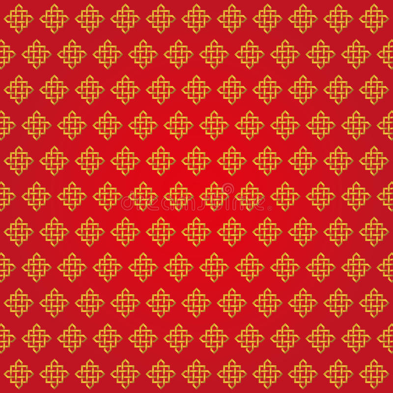 Download Auspicious Endless Knots Chinese PatternRedGold Stock Vector
