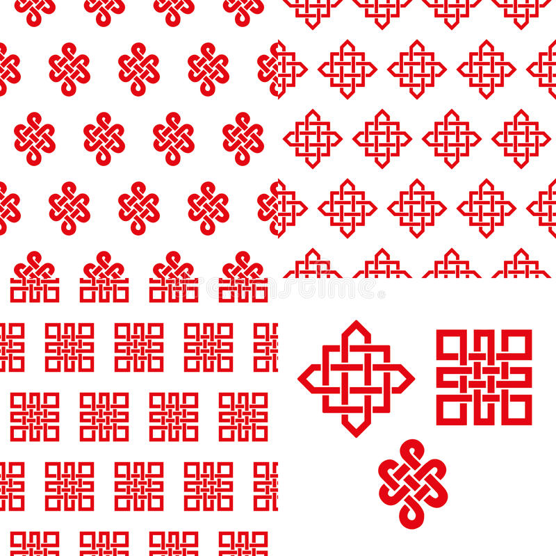 Auspicious Endless Knots Chinese Seamless Patternd Stock Vector
