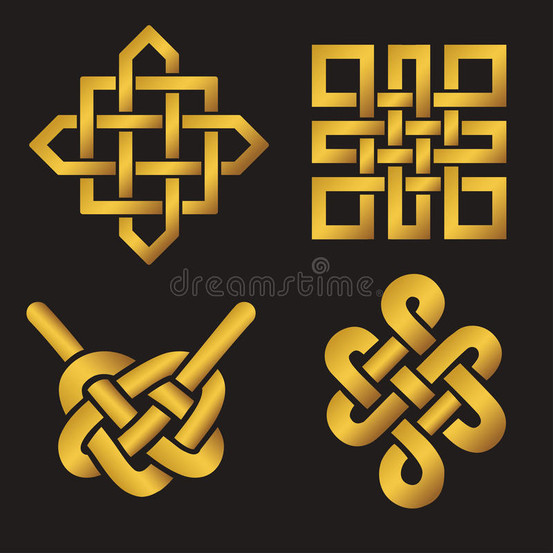 Auspicious Endless knots set.Buddhist symbol.Gold. Endless Auspicious knot set. China,Tibet, Eternal , Buddhism and Spirituality icon,symbol.Vector gold sign vector illustration