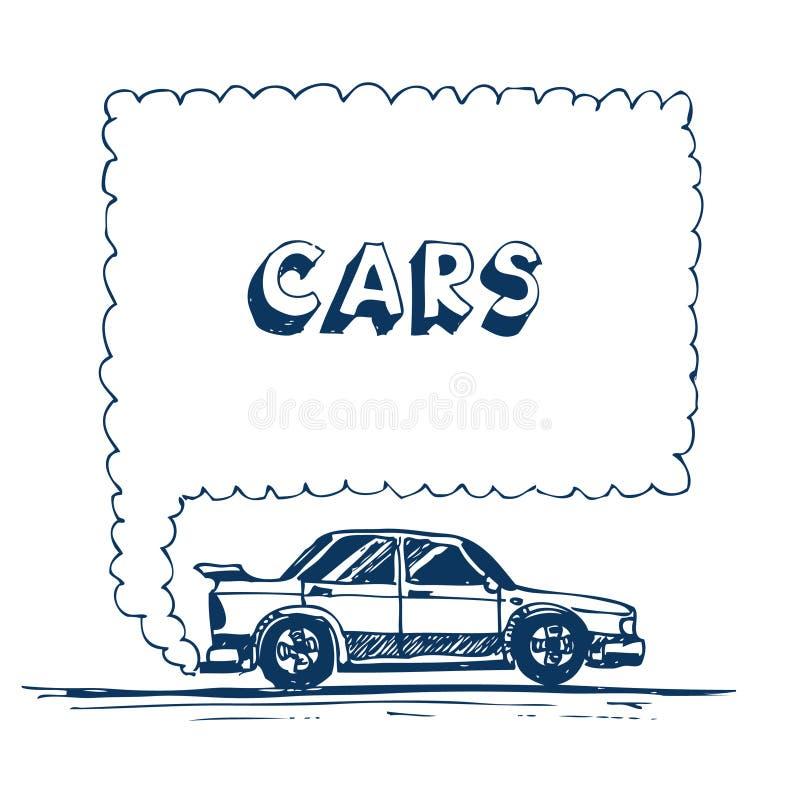AUSPUFFspracheluftblase des Autos durchbrennen lizenzfreie abbildung