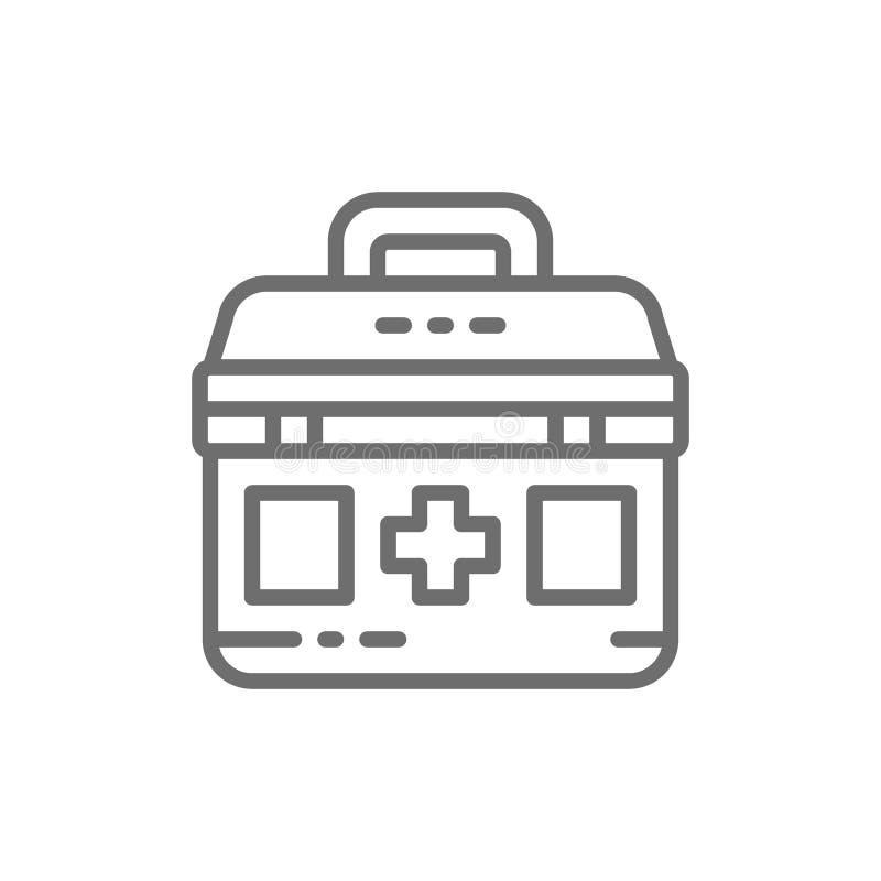 Ausrüstung der ersten Hilfe, medizinische Tasche, Medizin für Spenden, Nächstenliebe, Linie Ikone freiwillig erbietend lizenzfreie abbildung