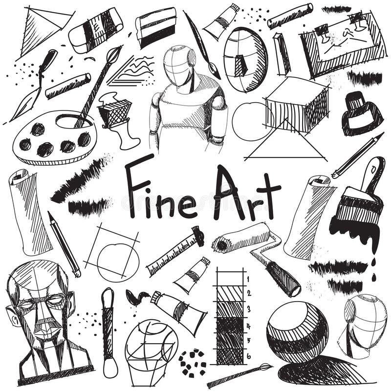 Ausrüstung der schönen Kunst und stationäres Handschriftsgekritzel lizenzfreie abbildung
