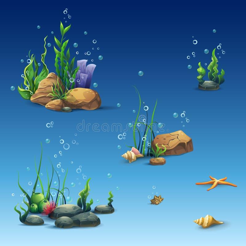 Ausrüstung der Unterwasserwelt mit Oberteil, Meerespflanze, Starfish, Steine lizenzfreie abbildung