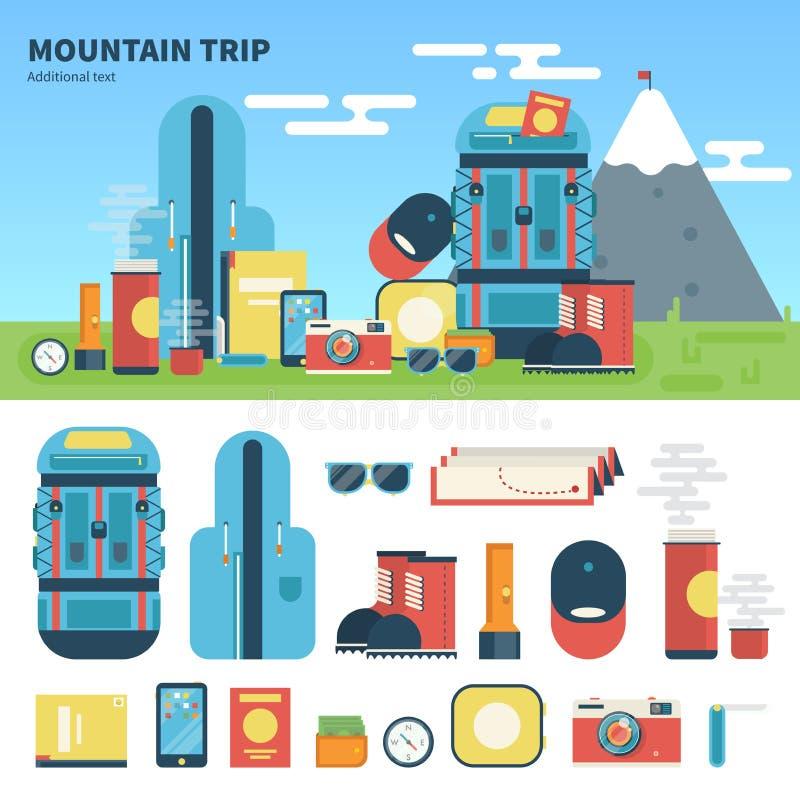 Ausrüstung für Gebirgsreise lizenzfreie abbildung