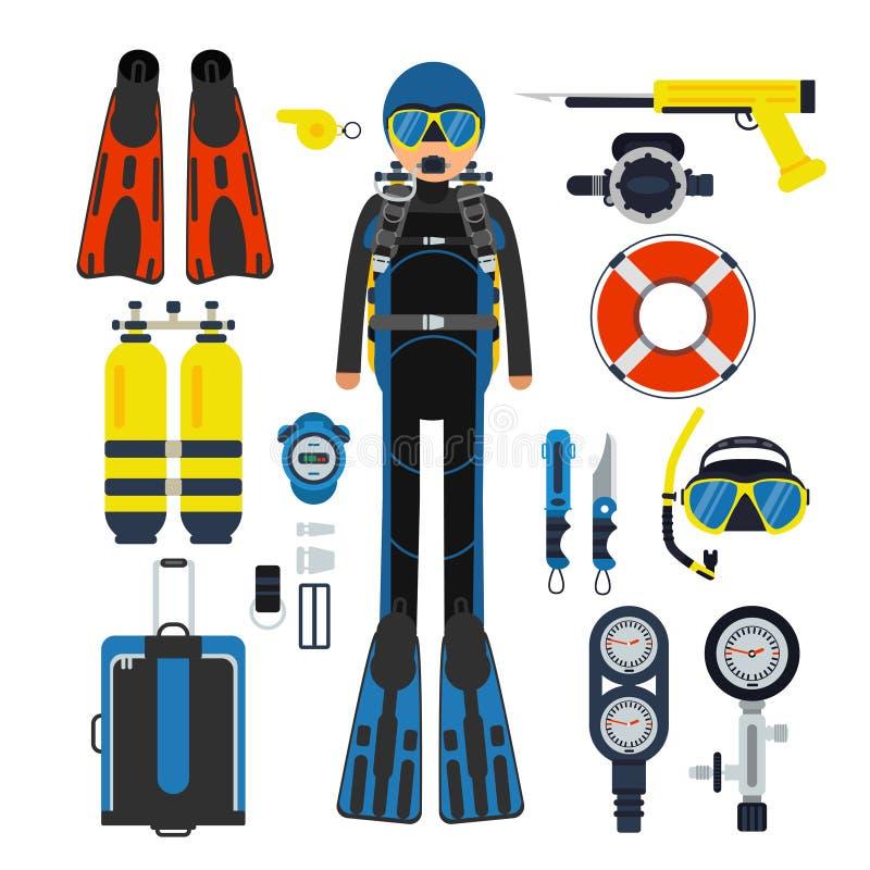 Ausrüstung für Unterwassersport Gas, Unterwasseratemgerät Wetsuit und Flipper lizenzfreie abbildung