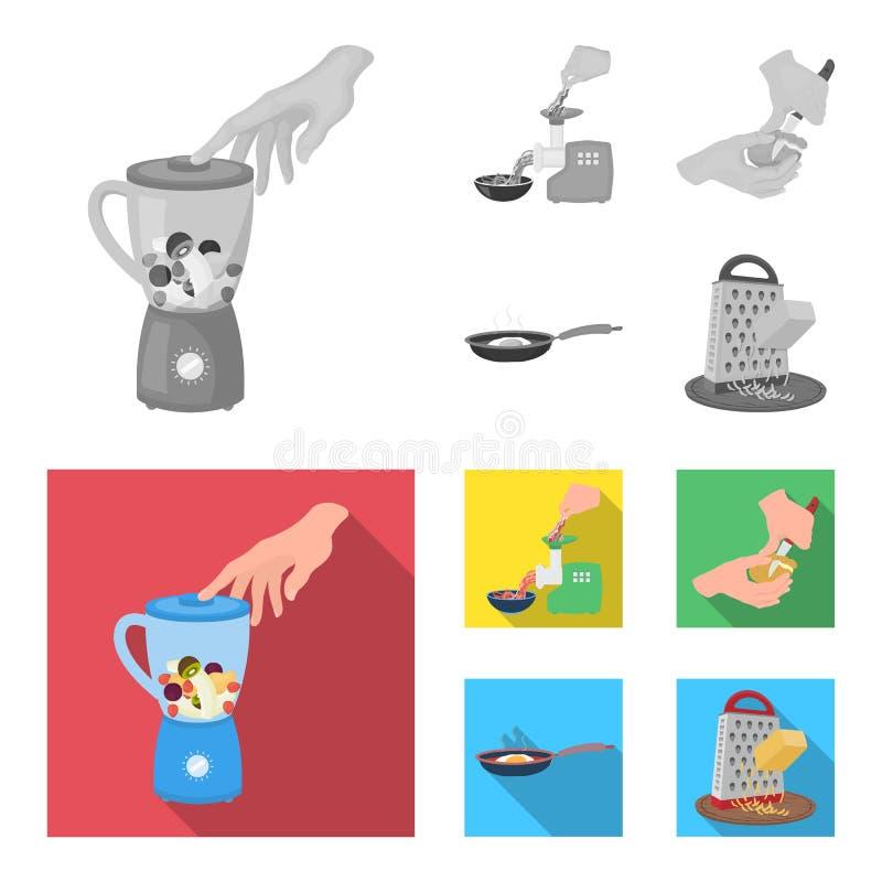 Ausrüstung, Geräte, Gerät und andere Netzikone in der einfarbigen, flachen Art , Koch, Tutsi Küche, Ikonen im Satz stock abbildung
