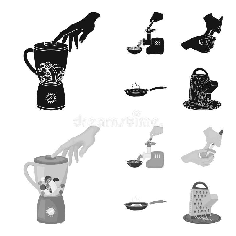 Ausrüstung, Geräte, Gerät und andere Netzikone in der schwarzen, einfarbigen Art , Koch, Tutsi Küche, Ikonen im Satz stock abbildung