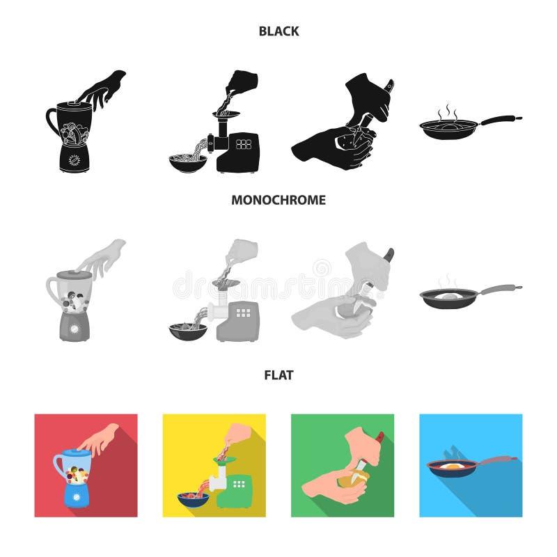 Ausrüstung, Geräte, Gerät und andere Netzikone in der schwarzen, flachen, einfarbigen Art , Koch, Tutsi Küche, Ikonen herein vektor abbildung