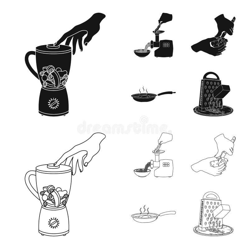 Ausrüstung, Geräte, Gerät und andere Netzikone im Schwarzen, Entwurfsart , Koch, Tutsi Küche, Ikonen im Satz stock abbildung