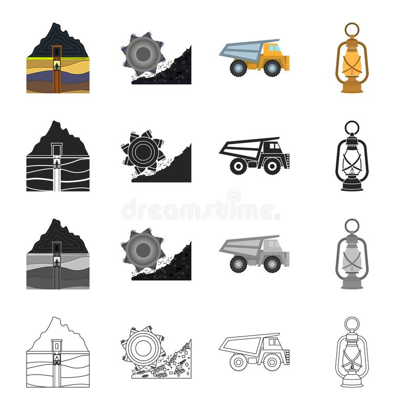 Ausrüstung, nützlich, Fossil und andere Netzikone in der Karikaturart Beleuchtung, Bergbau, Industrieikonen in der Satzsammlung stock abbildung