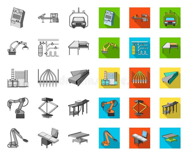 Ausrüstung und Maschine mono, flache Ikonen in gesetzter Sammlung für Entwurf Technischer Fortschritt des Fabrikvektor-Symbolvorr lizenzfreie abbildung