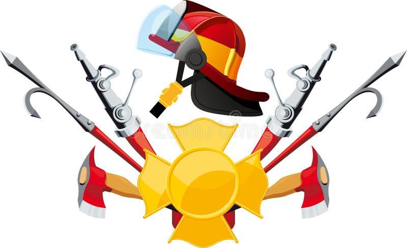 Ausrüstung und Werkzeugfeuerwehrmann stock abbildung