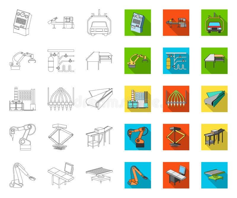 Ausrüstungs- und Maschinenentwurf, flache Ikonen in gesetzter Sammlung für Entwurf Technischer Fortschritt des Fabrikvektorsymbol stock abbildung
